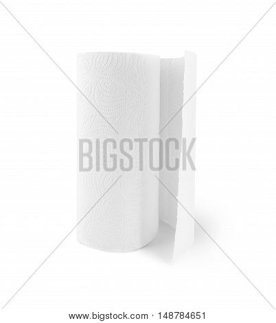 Kitchen paper towel roll isolated on a white background. With clipping path