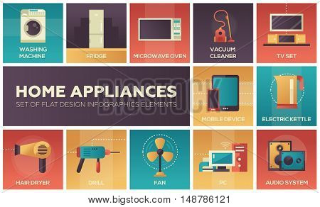 Home Appliances - modern vector flat design icons and pictograms set. Washing machine, fridge, microwave oven, tv set, pc, mobile device, vacuum cleaner, electric kettle, hair dryer, drill, fan, audio system