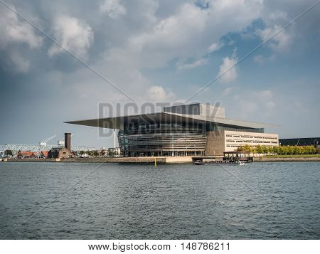 Royal opera house in Copenhagen harbor Denmark