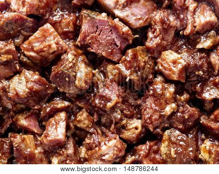 close up of rustic american barbecued pork food background