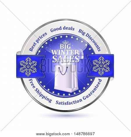 Winter sales stamp with shopping bag and snowflakes. Big winter sales stamp with a ribbon and a shiny blue icon: special offer, free delivery, satisfaction guaranteed