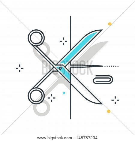 Color line scissors illustration icon background and graphics. The illustration is colorful flat vector pixel perfect suitable for web and print. Linear stokes and fills.