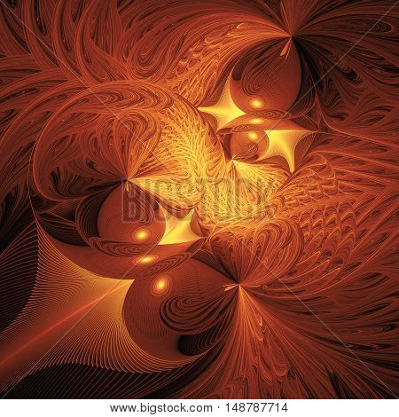 Abstract fantasy shapes on black background. Computer-generated fractal in yellow and brown colors.
