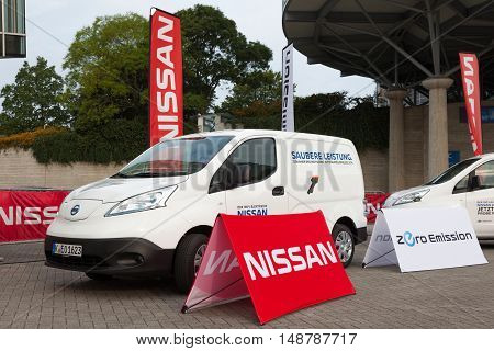HANNOVER GERMANY - 23 2016: The Nissan e-NV200 electric delivery van at the IAA Commercial Vehicles 2016 International Trade Fair