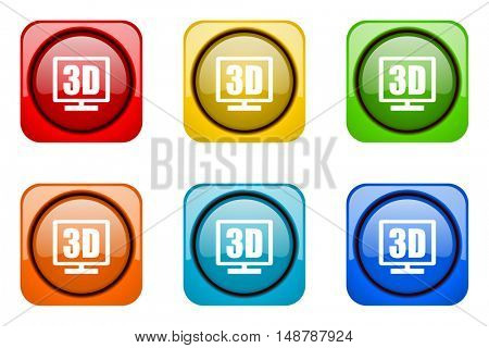 3d display colorful web icons