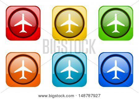 plane colorful web icons