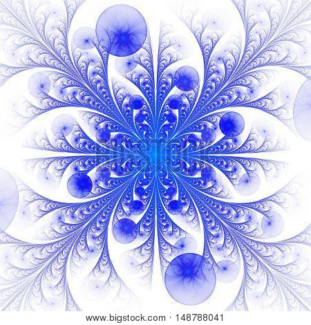 Abstract symmetrical floral ornament on white background. Computer-generated fractal in blue color.