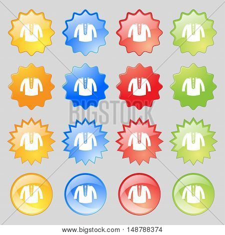 Casual Jacket Icon Sign. Big Set Of 16 Colorful Modern Buttons For Your Design. Vector