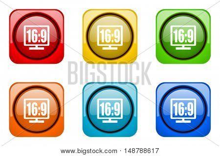 16 9 display colorful web icons
