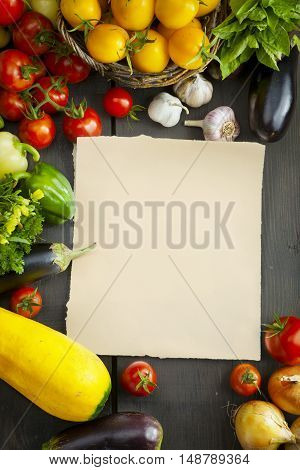 Composition With Assorted Raw Organic Vegetables On Wood Background