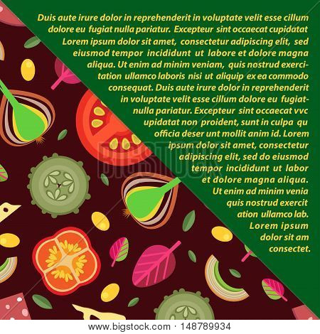 Vector background of toppings for pizzas in flat style. Share diagonally. Dark green triangular strike the wells for text