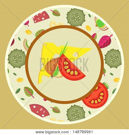 Vector illustration. Plate with ornaments of toppings for pizzas in flat style