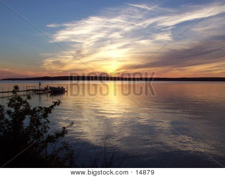 Sunset Over Manistique Lake