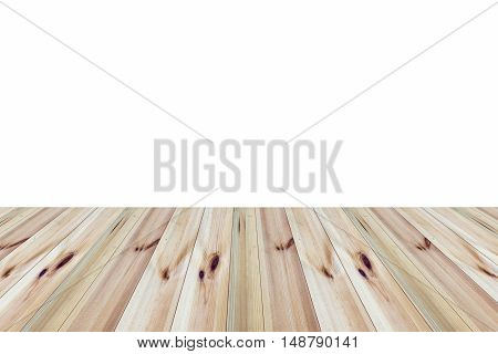 perspective wooden floor with white background for display
