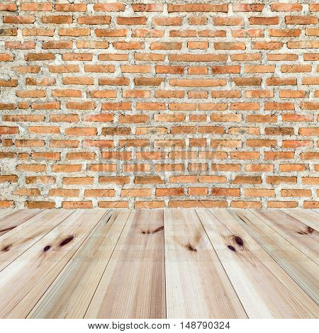 perspective wooden floor and orange brick wall background. for product display