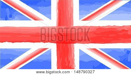 English flag. Great Britain with watercolor painted texture flag isolated Vector illustration travel England sign