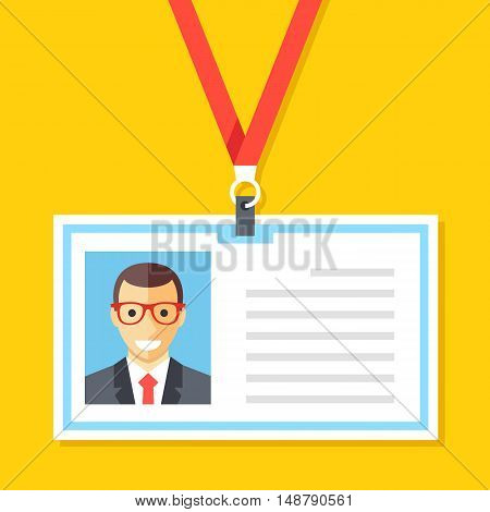 ID card with man photo. Plastic identification card, lanyard, employee name badge concepts. Cartoon flat design vector illustration