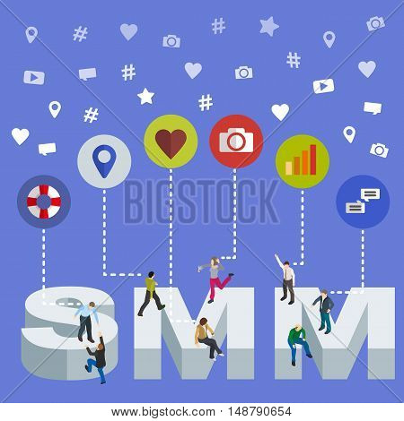 Social media marketing 3d isometric concept. Isometric People. Social media web banner. Flat social icons. SMM vector illustration.