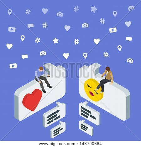 Social media marketing 3d isometric concept. Online dating and chat. Isometric People sit on the dialog box. Flat social icons. Exchange messages. Community & Flirt vector illustration.