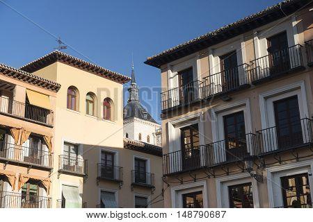 Toledo (Castilla-La Mancha Spain): facade of historic buildings in the Zocodover square with balconies