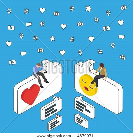 Online dating and chat. Isometric People sit on the dialog box. Social media marketing 3d isometric concept. Flat social icons. Exchange messages. Community & Flirt vector illustration.