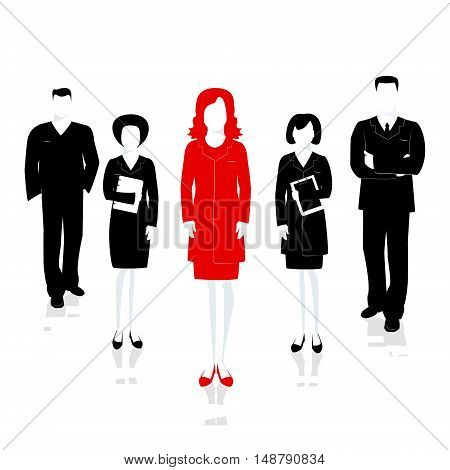 Team leader female. Successful team headed by the leader . Vector illustration
