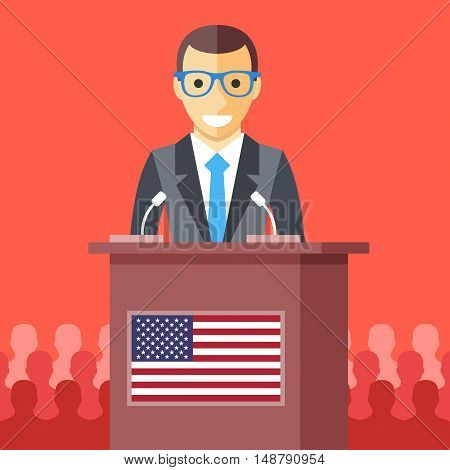 Man giving speech at rostrum with american flag. Male character, wooden podium tribune with USA flag. President speech, election debates, presidential campaign concept. Flat design vector illustration