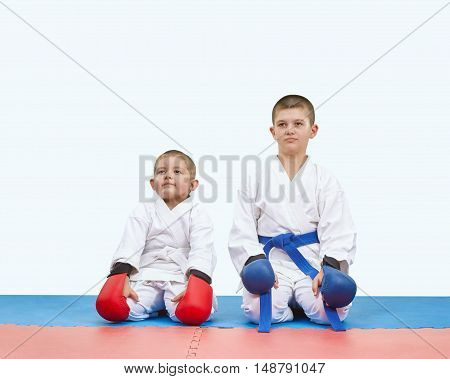 Brothers athletes sitting on a mats in karate pose