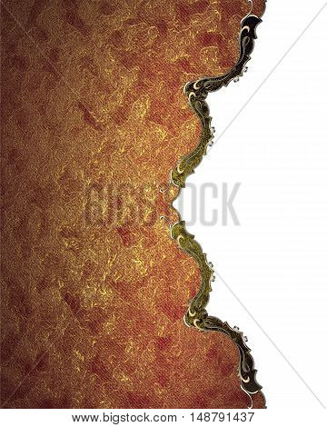 Grunge Red Plate With Gold Trim. Template For Design. Copy Space For Ad Brochure Or Announcement Inv