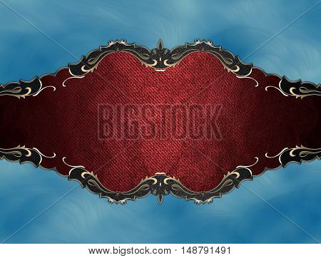 Grunge Red Plate With Gold Trim On Blue Background. Template For Design. Copy Space For Ad Brochure