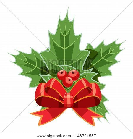 Christmas bow with holly berry icon in cartoon style isolated on white background vector illustration