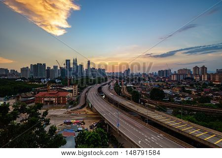 Dramatic Scenery Of Elevated Highway Heading Towards Kuala Lumpur City Centre During Sunset
