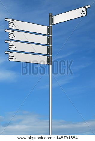 Blank signpost 3D sign directional direction choice
