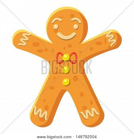 Gingerbread man icon in cartoon style isolated on white background vector illustration
