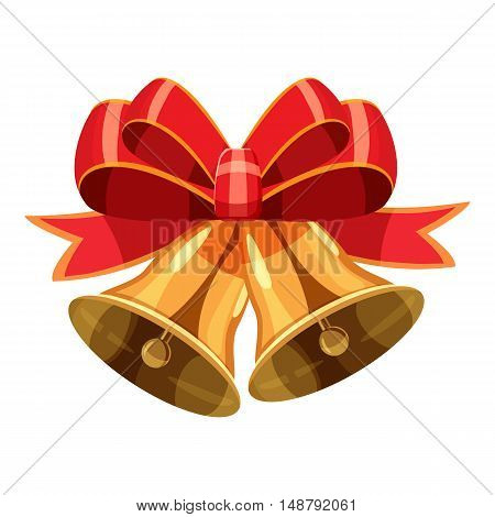 Golden Christmas bells with red bow icon in cartoon style isolated on white background vector illustration