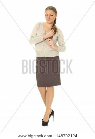 Studio Shot Of A Large Woman In Brown Skirt Isolated