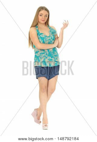 Studio Shot Of A Large Woman In Blue Shorts Isolated