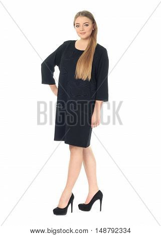 Studio Shot Of A Large Woman In Blue Dress Isolated