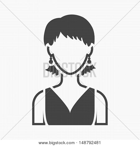 Girl with earrings icon black. Single avatar, peaople icon from the big avatar simple.