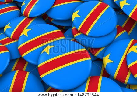Dr Congo Badges Background - Pile Of Congolese Flag Buttons 3D Illustration
