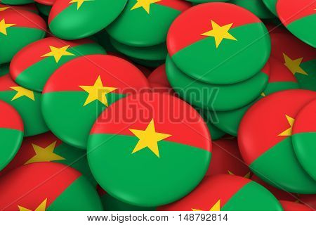 Burkina Faso Badges Background - Pile Of Burkinabe Flag Buttons 3D Illustration