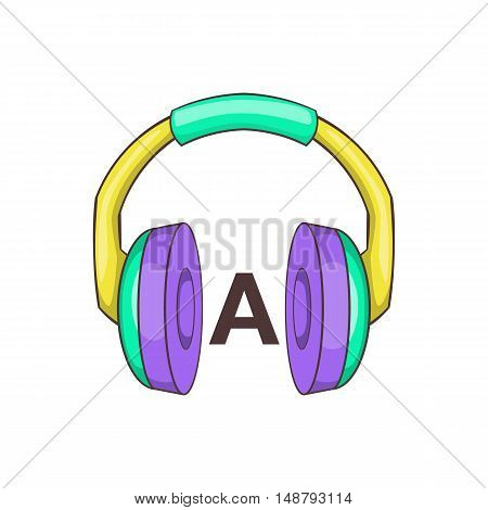 Headphones for language learning icon in cartoon style isolated on white background vector illustration