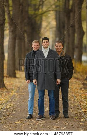 Full portrait of three friends in alley in autumn park, smiling