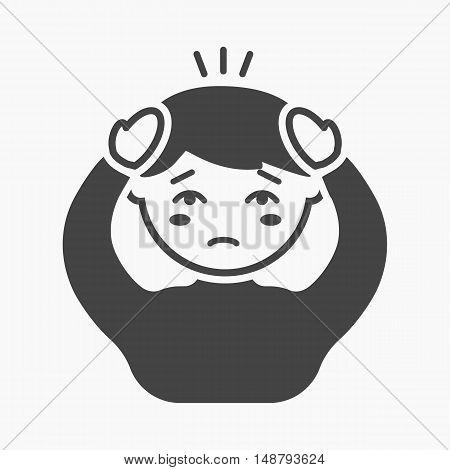 Headache icon cartoon. Single sick icon from the big ill, disease simple.