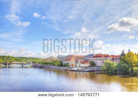 Prague. City Quarter and the bridge over the Vltava river