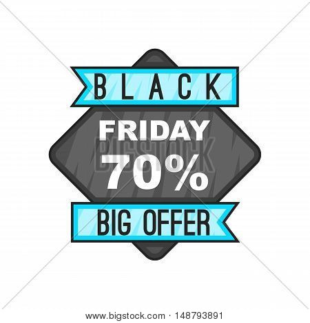 Discount 70 Black Friday sale. icon in cartoon style isolated on white background vector illustration