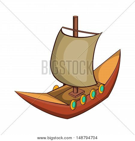 Viking ship icon in cartoon style isolated on white background vector illustration