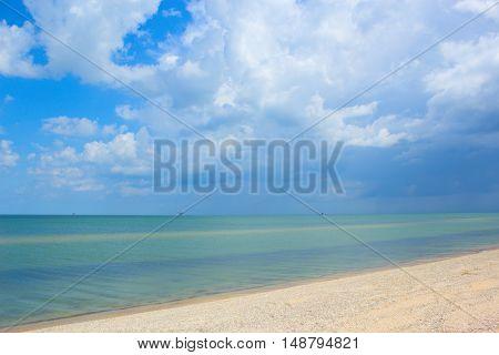 Beautiful calm sea with perfect sky. Sea view