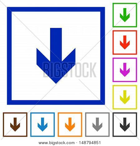 Set of color square framed down arrow flat icons