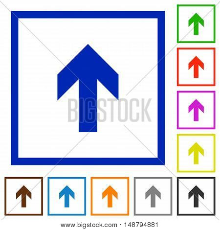 Set of color square framed up arrow flat icons